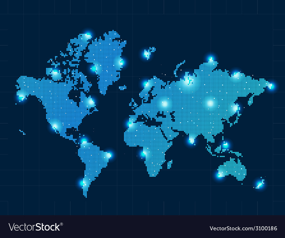 Pixel world map with spot lights royalty free vector image pixel world map with spot lights vector image gumiabroncs Choice Image