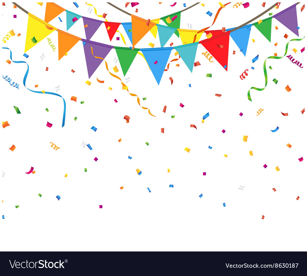 Party Flags With Confetti And Streamer Royalty Free Vector