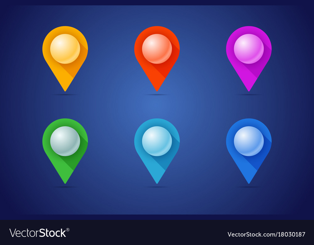 Set of map pins in different color styles with 3d vector image