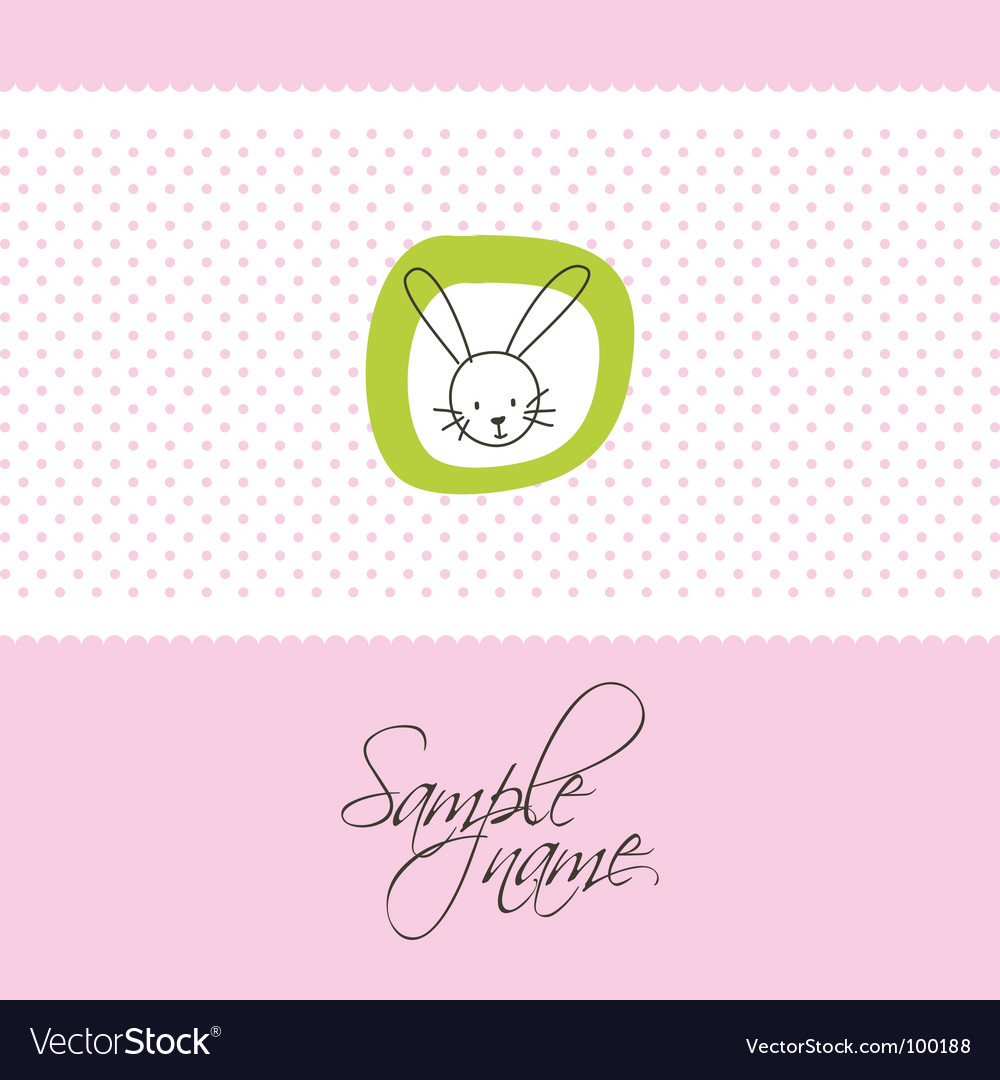 Cute card with bunny vector image