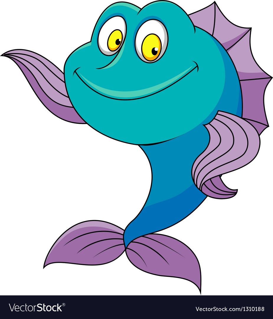 cute fish cartoon waving royalty free vector image