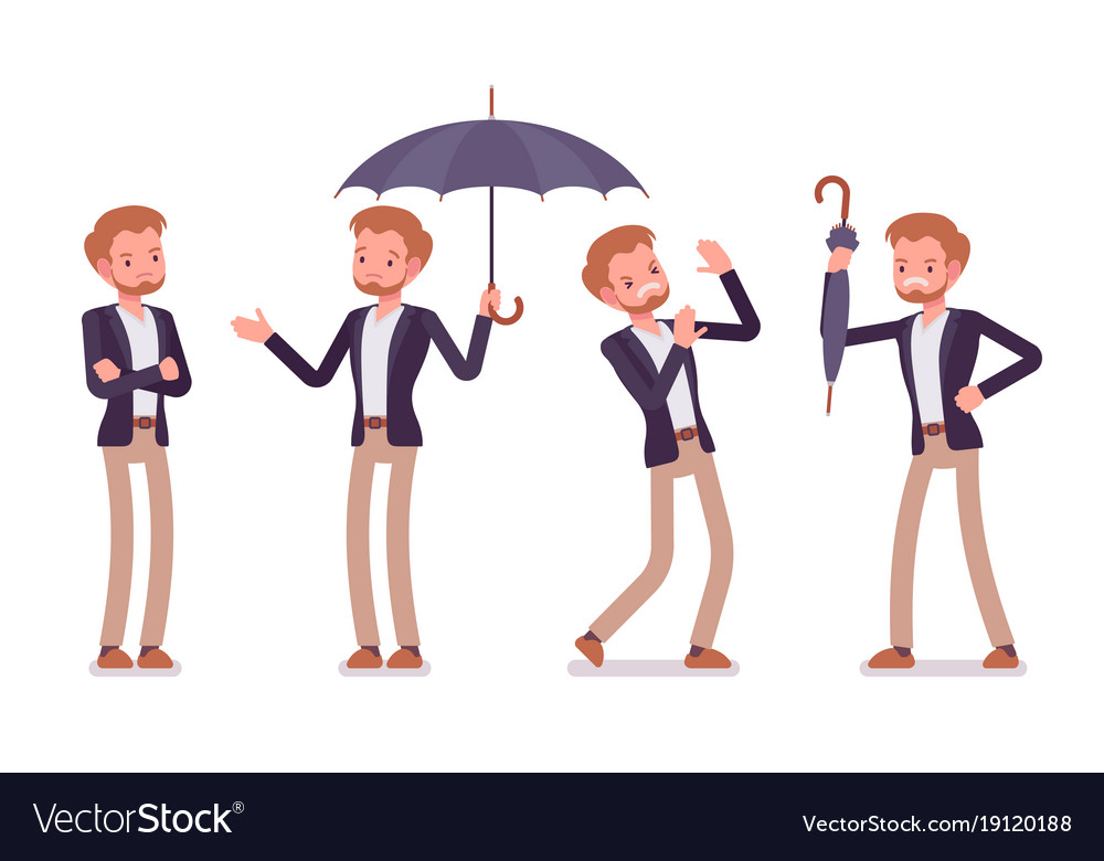 Set of young sad dandy showing negative emotions vector image