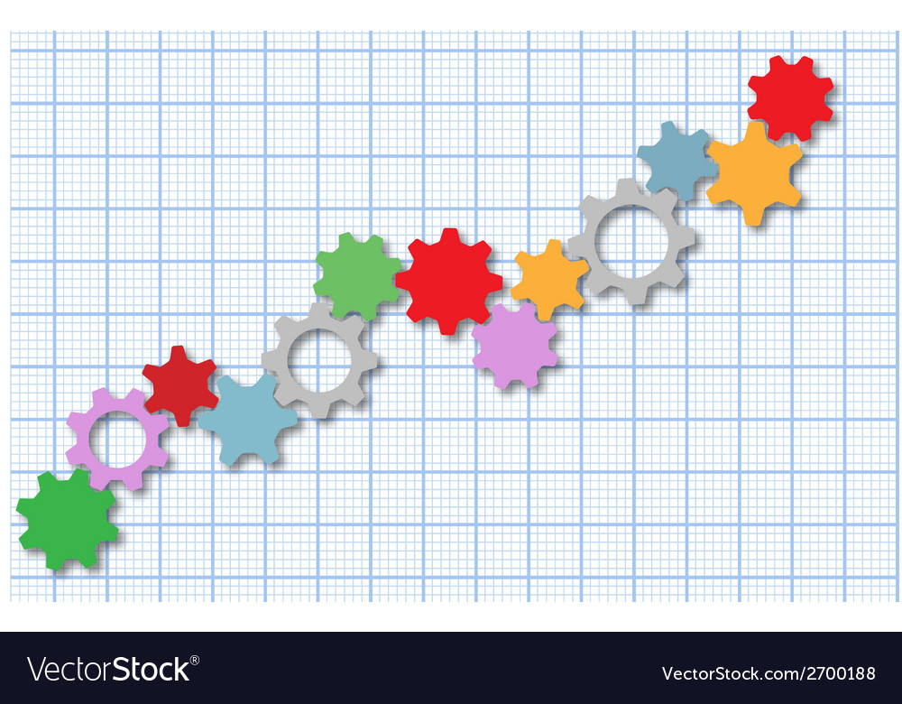 Technology gears tech business graph vector image