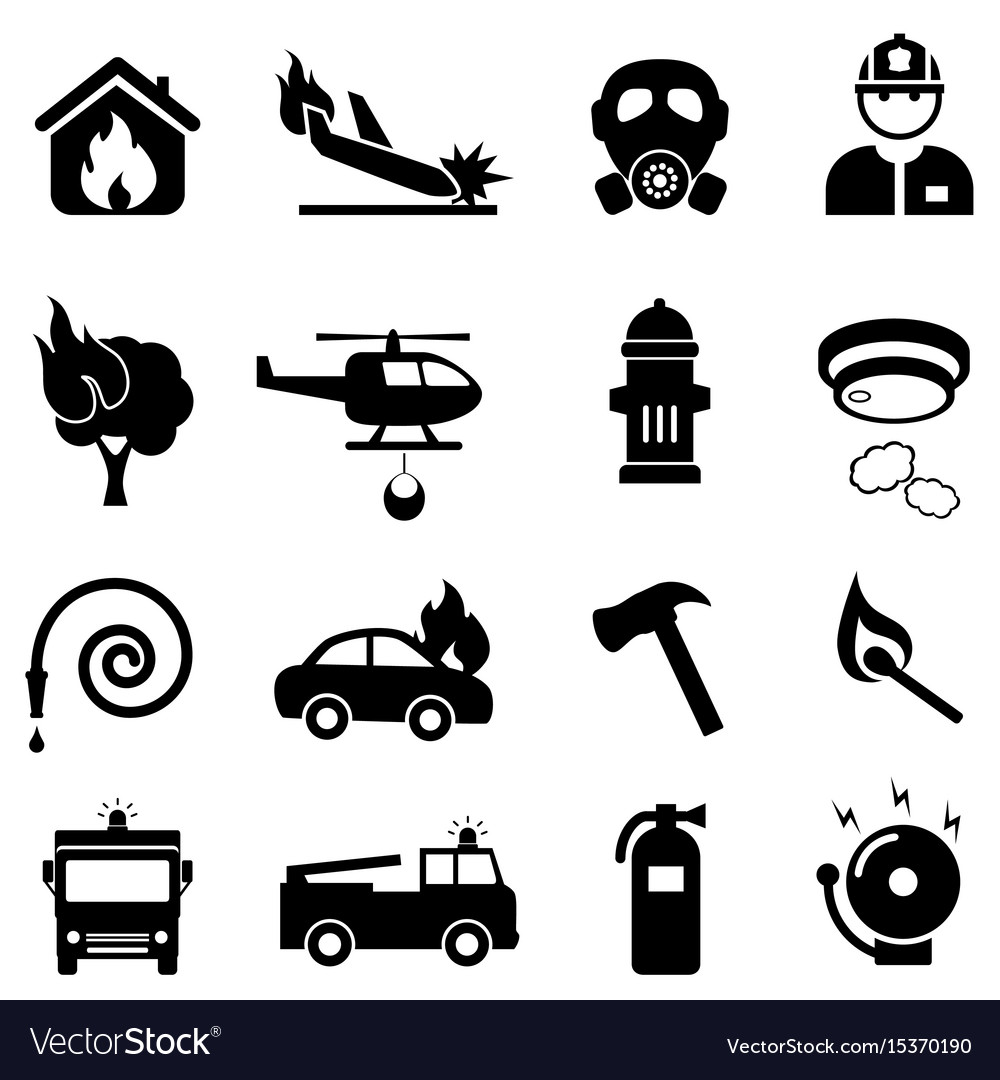 Fire fighting web icon set vector image