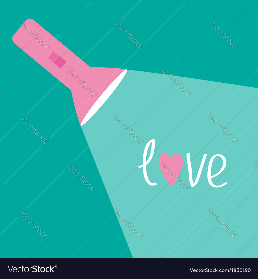 Pink flashlight and ray of light Flat design Love vector image