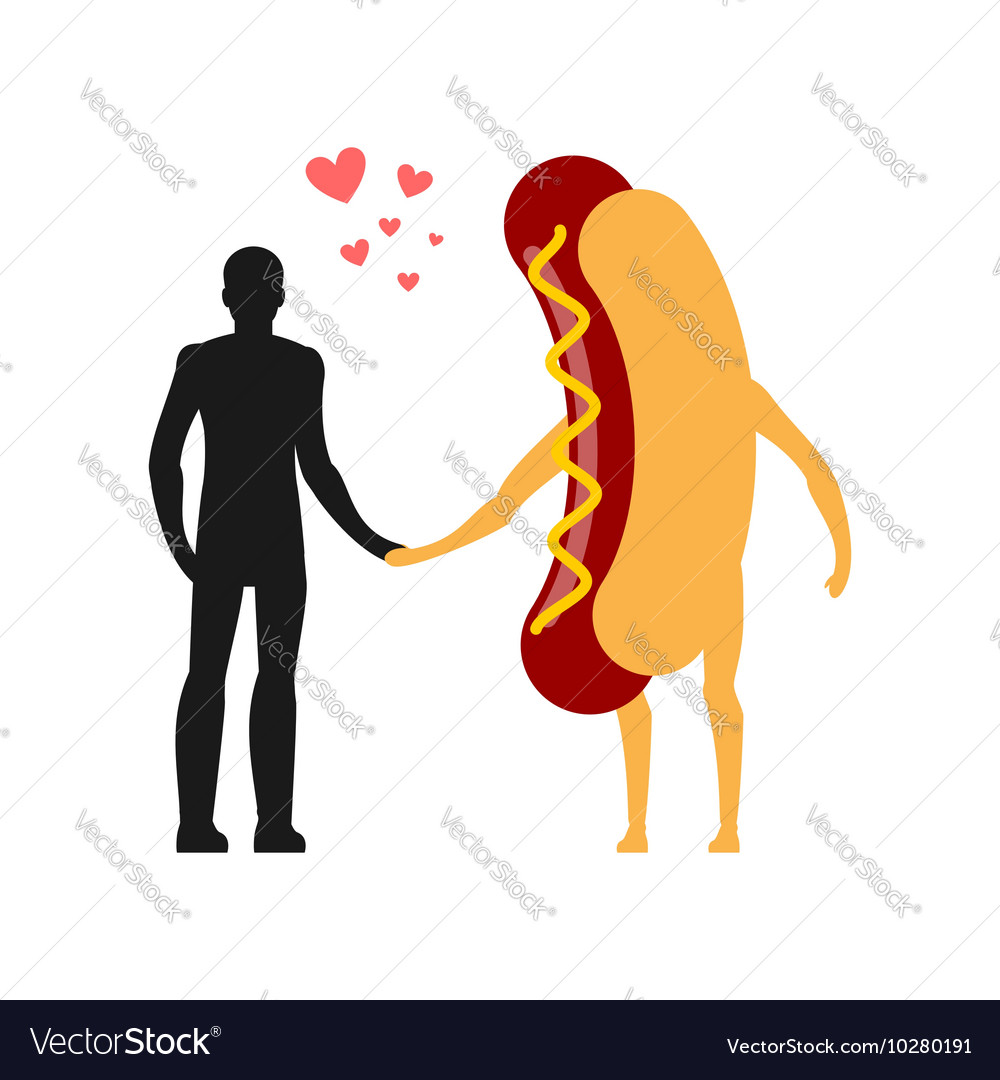 Enamored in hot dog man Man and fast food Lovers vector image