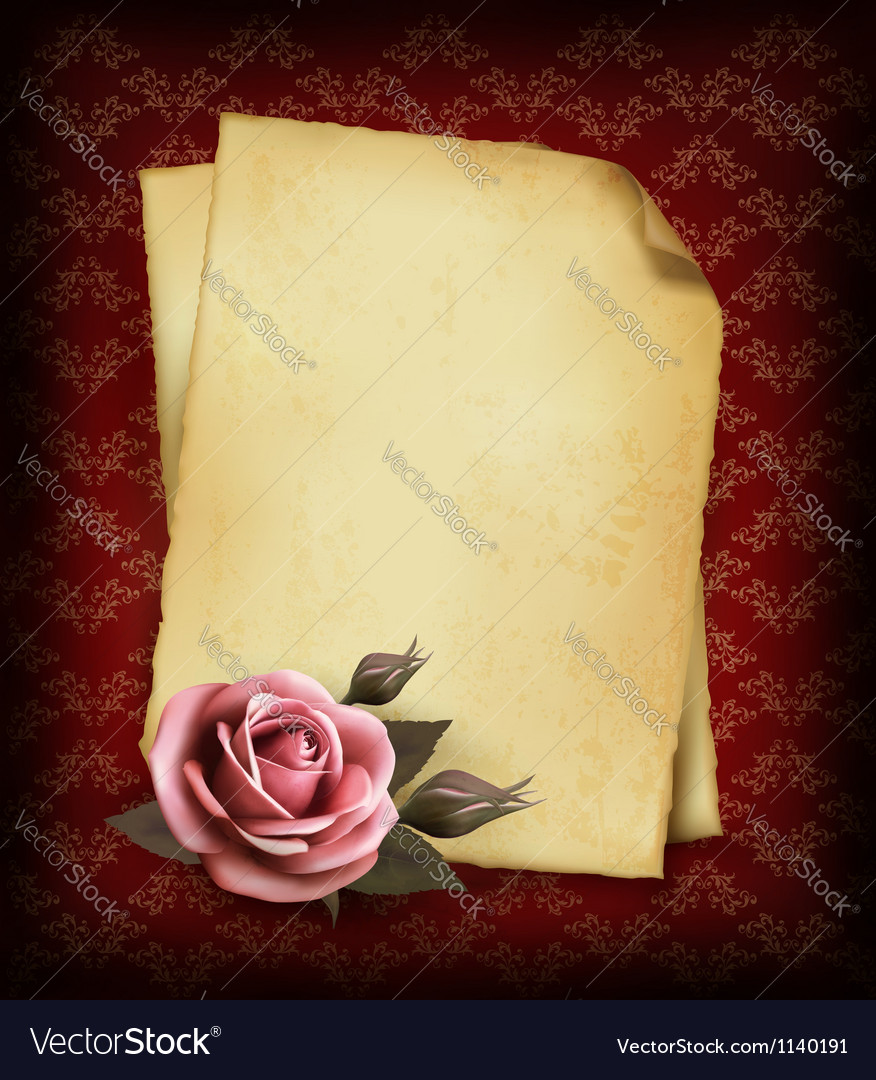 Retro background with beautiful pink rose and old vector image