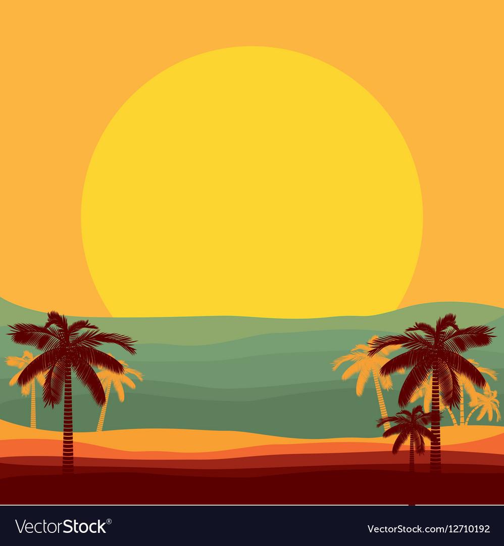 Beach paradise scene vector image