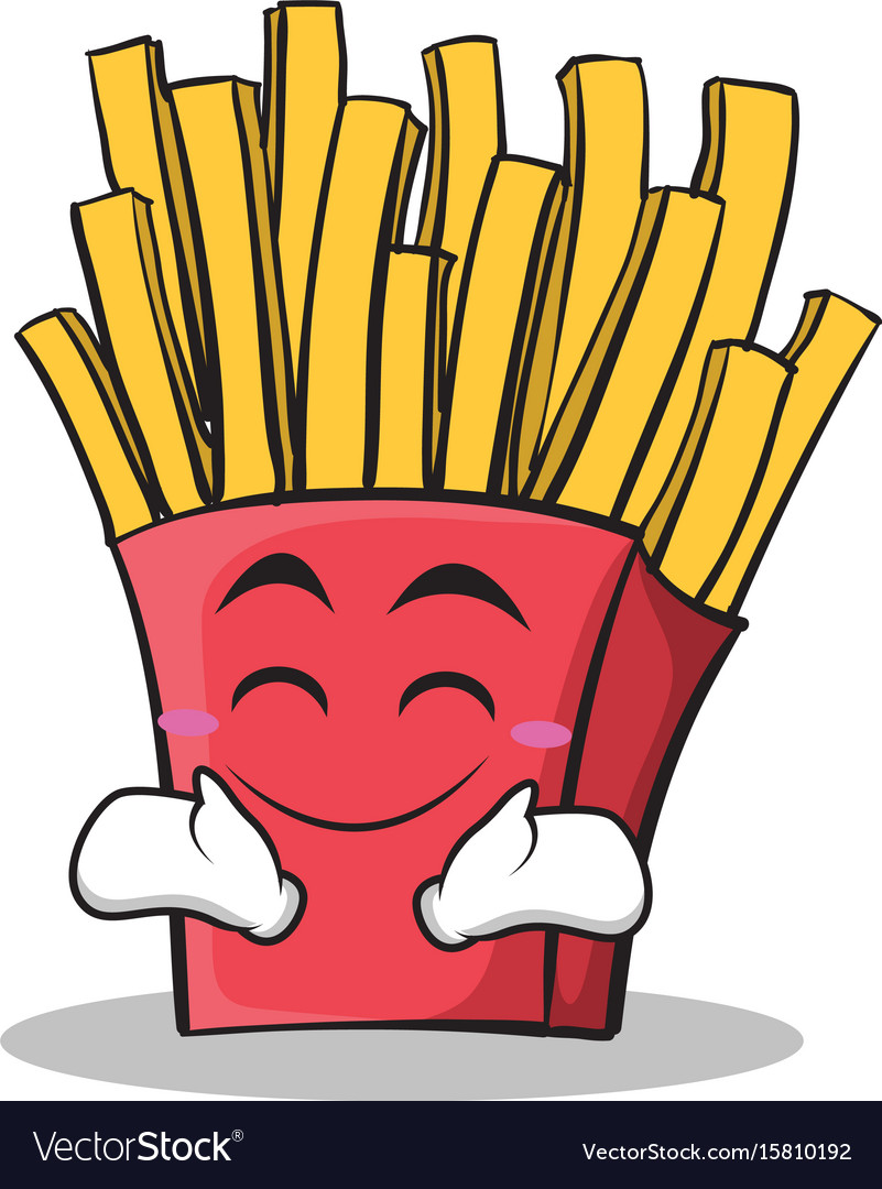 Happy face french fries cartoon character vector image