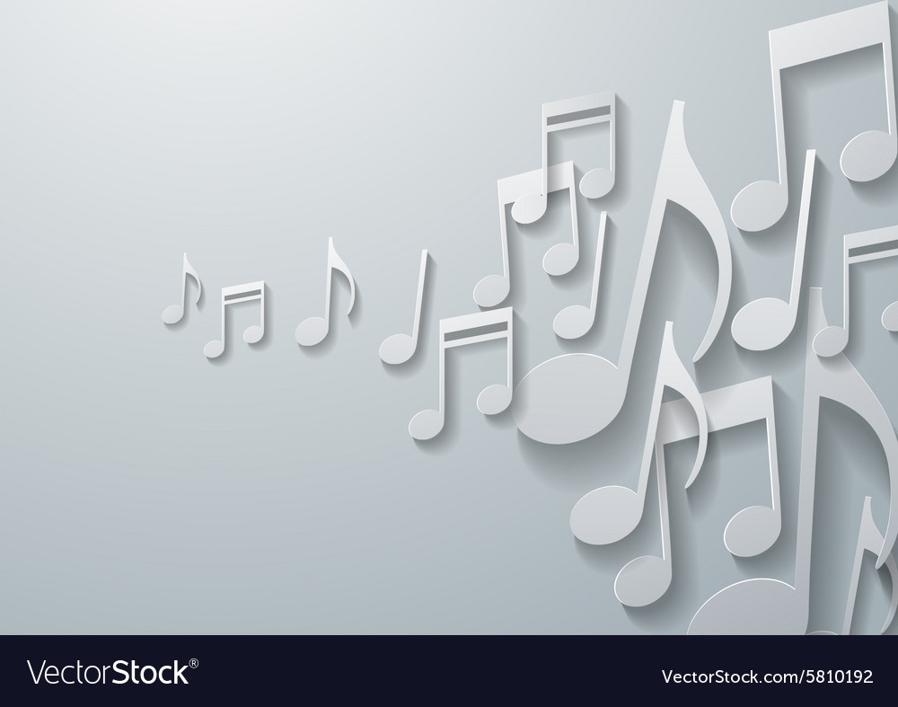 Music Notes on White Paper Background vector image