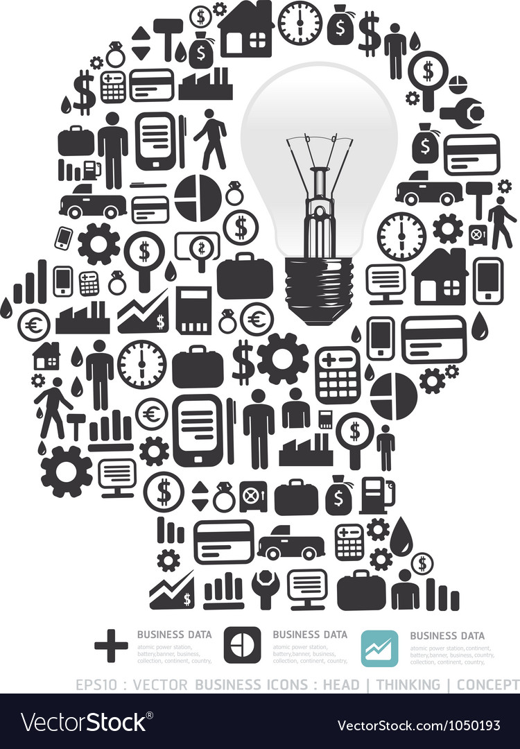 Elements are small icons Finance make in man think vector image