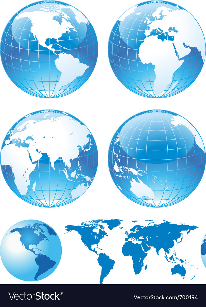 Color glossy globes and map vector image