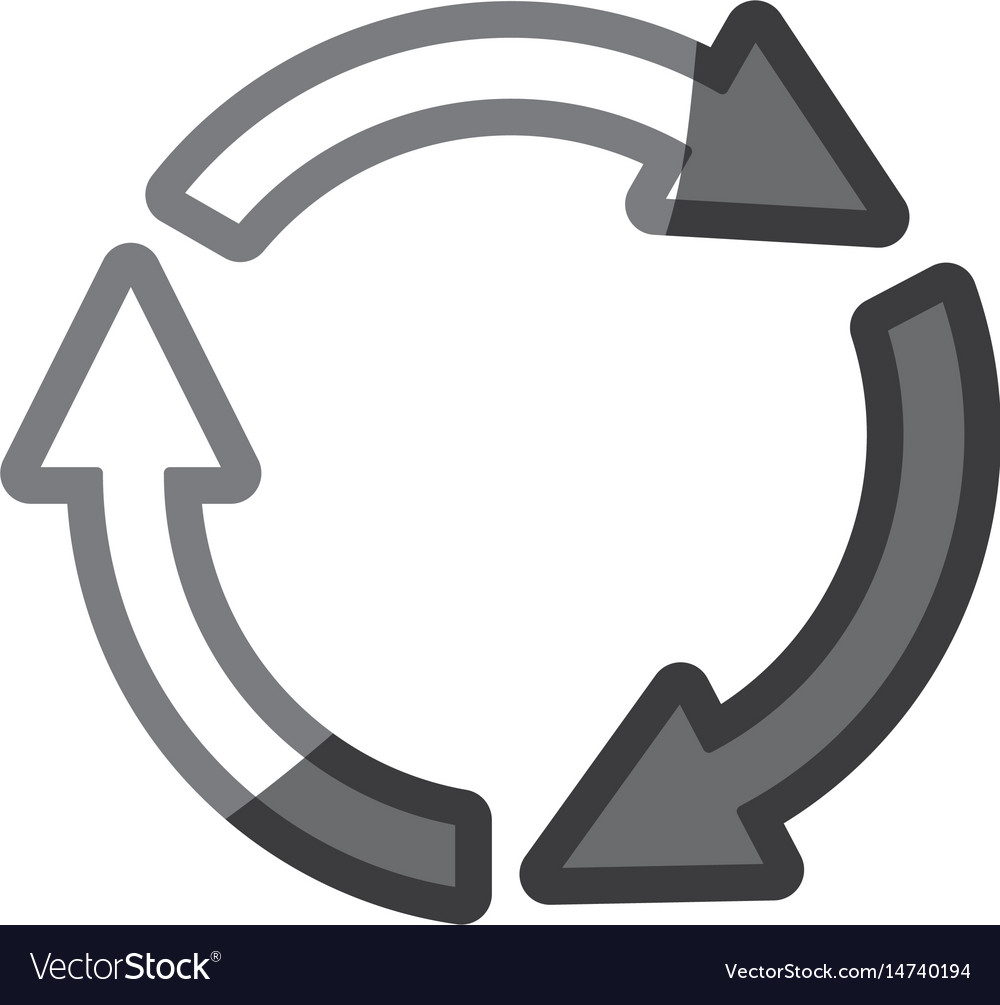 Grayscale silhouette of arrows circle reload vector image