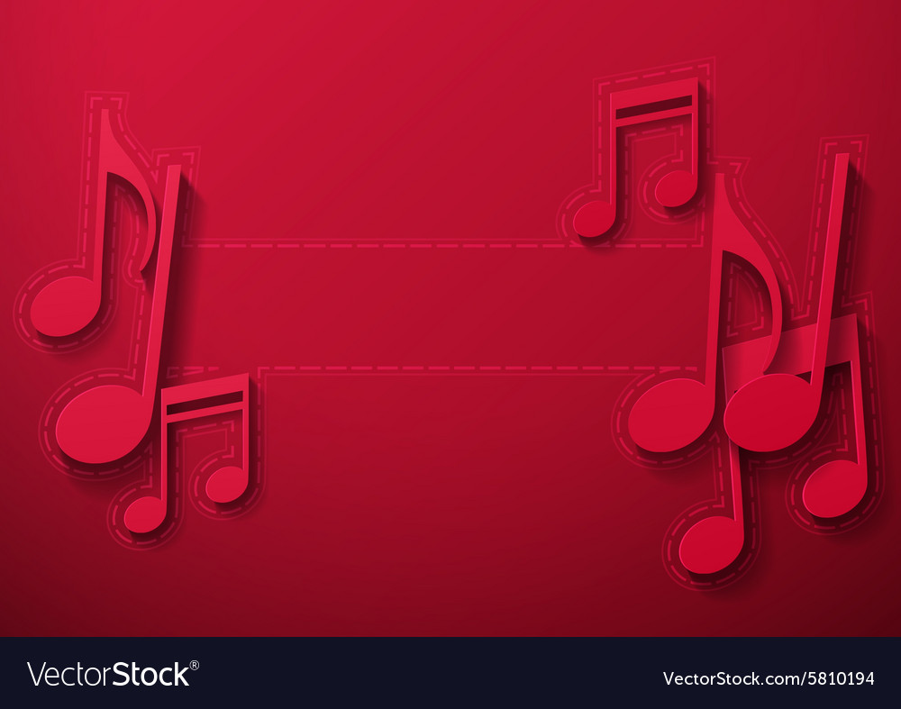 Music Notes on Maroon Background vector image