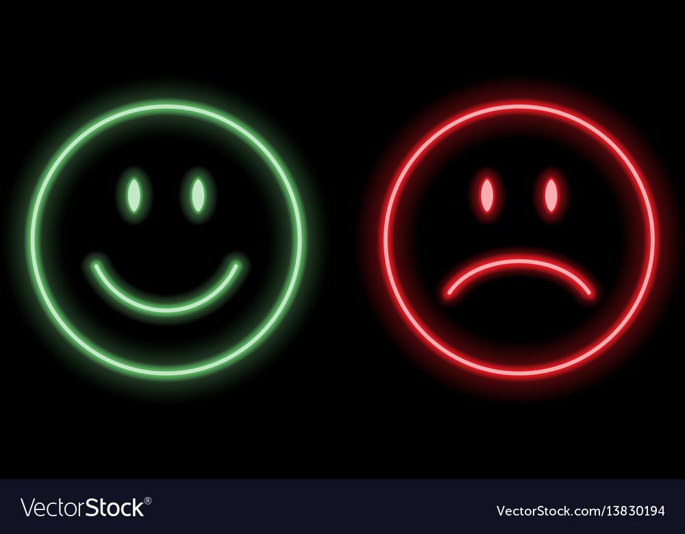 Neon smile emoticons vector image