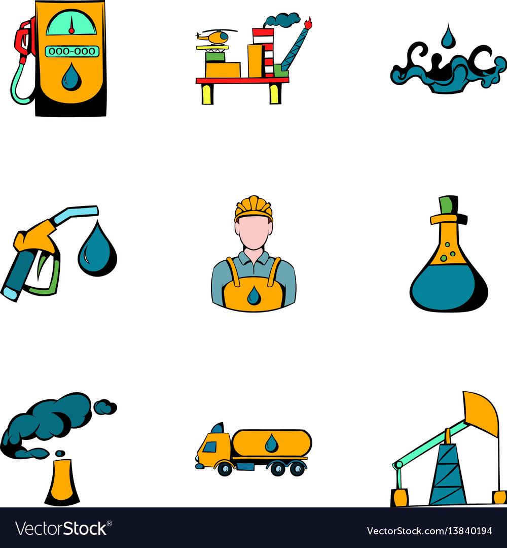 Oil icons set cartoon style vector image