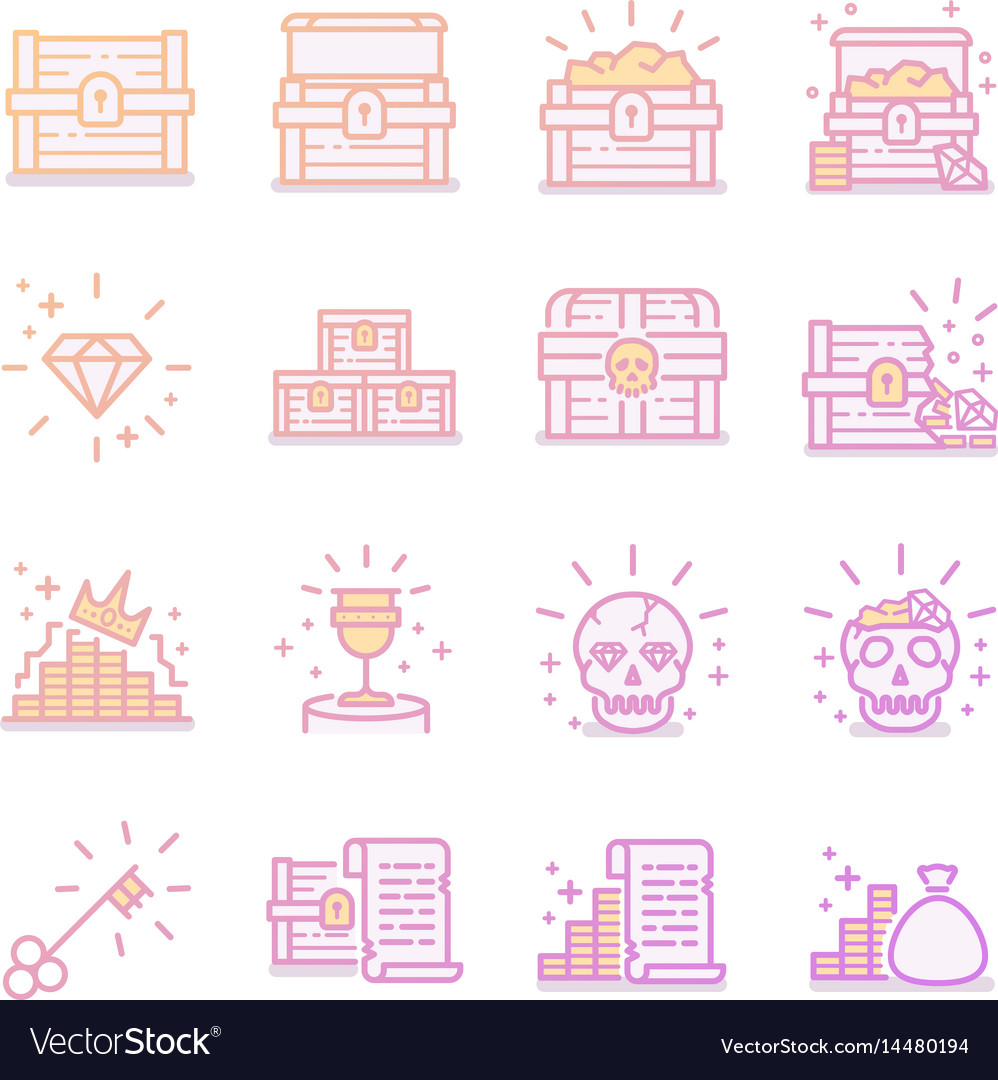 Treasure chest icon set vector image