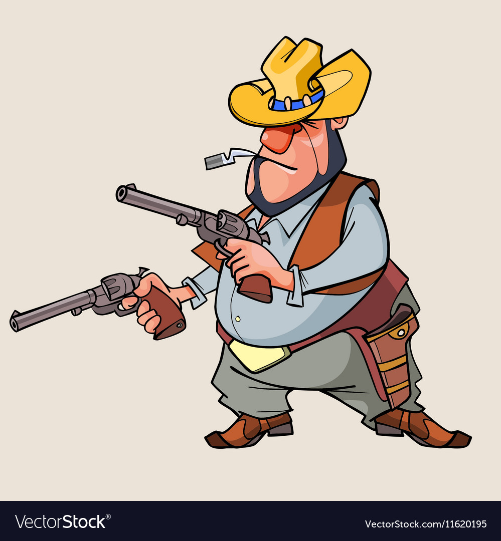 Cartoon man is a thug with guns vector image