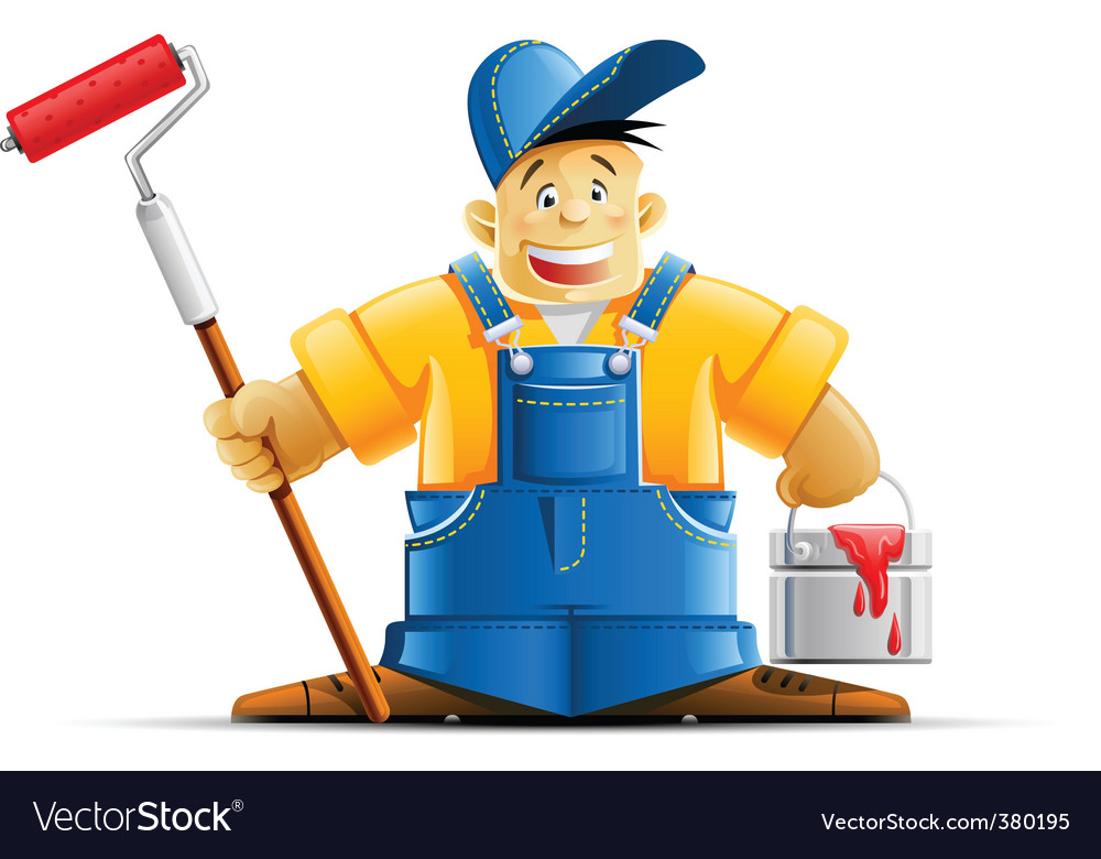 Painter and paint vector image