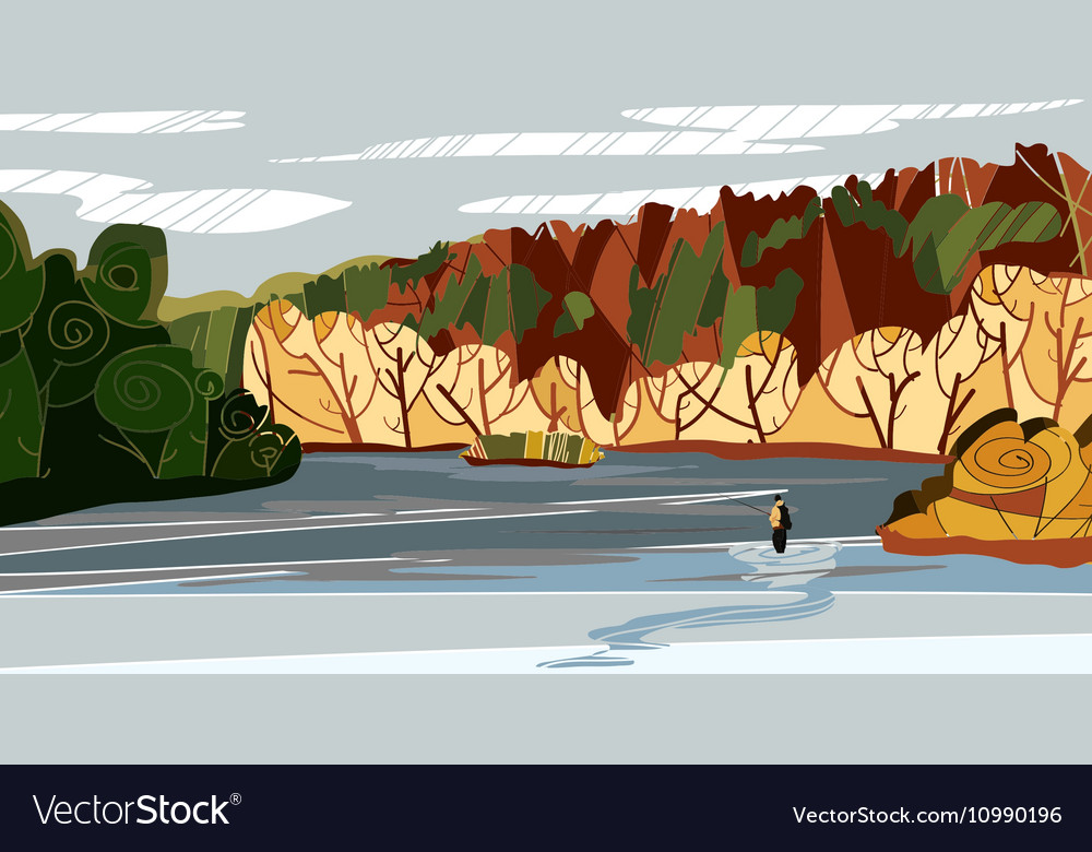 Autumn nature landscape with vector image
