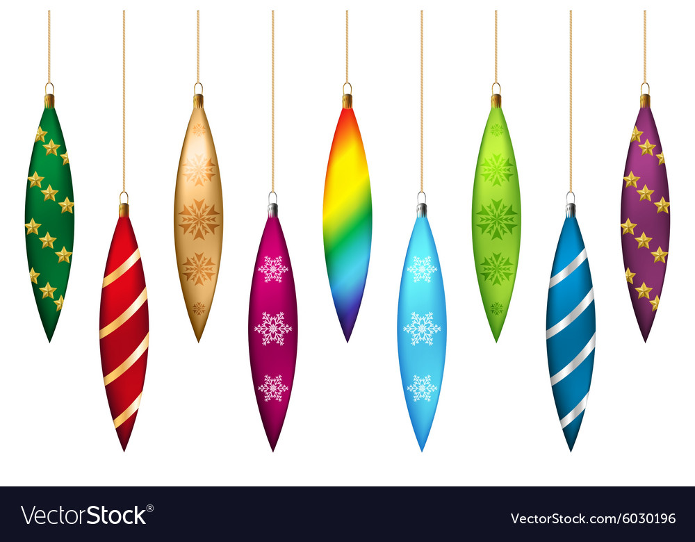 Christmas tree icicles set vector image