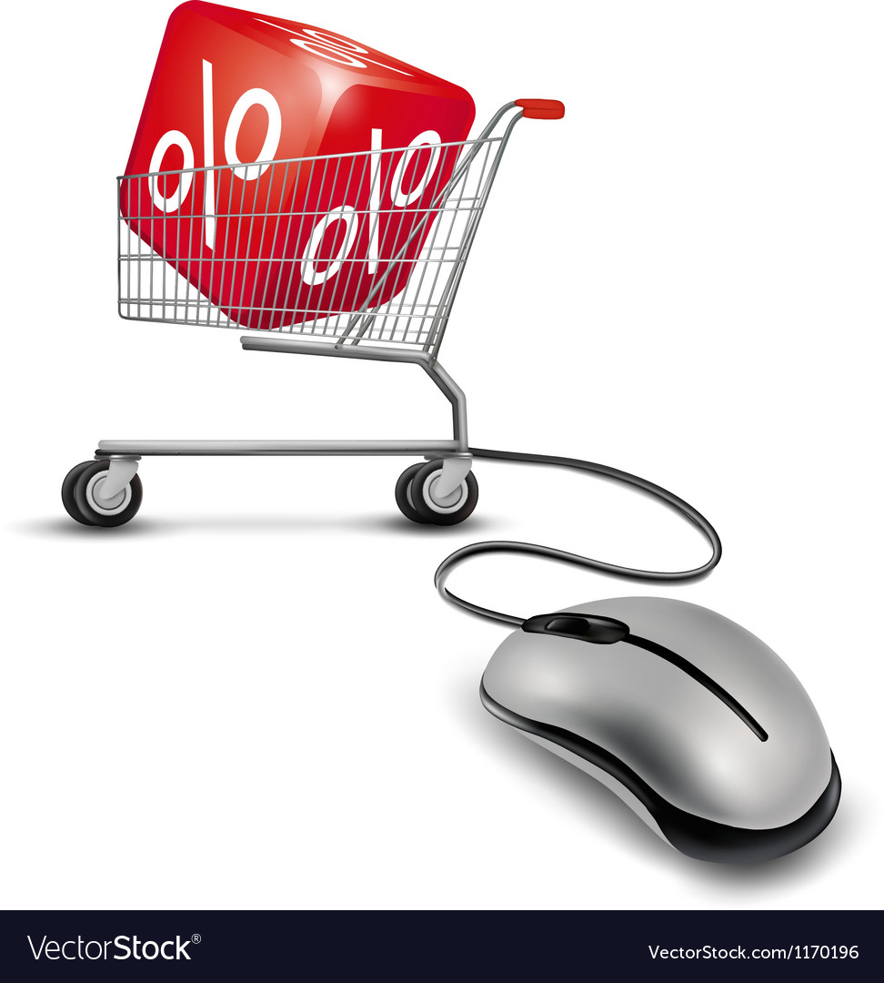Computer mouse and a shopping cart with cube in it vector image