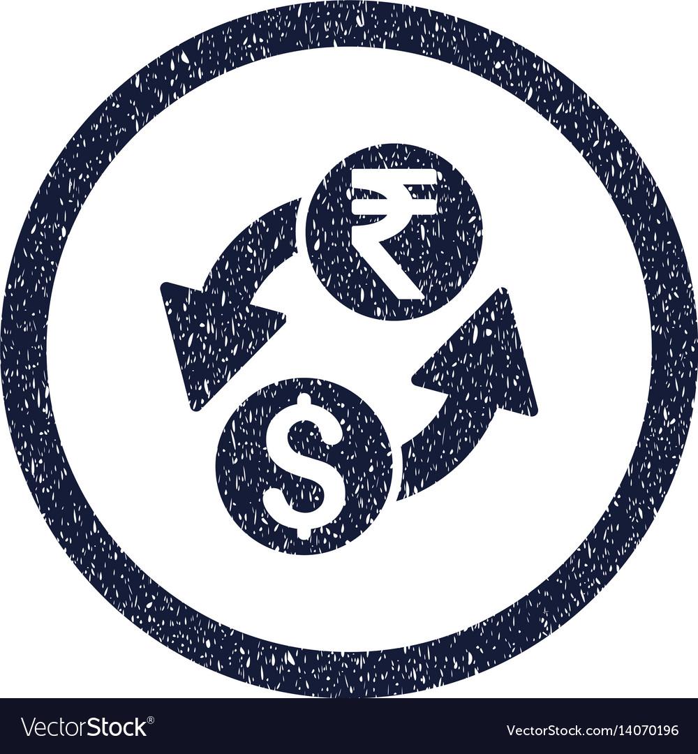 Dollar rupee exchange rounded grainy icon vector image