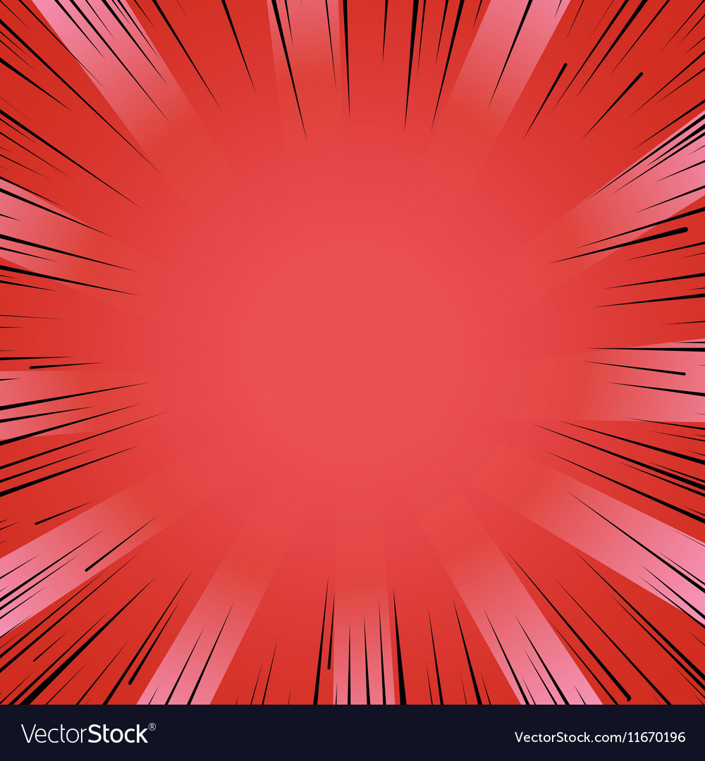 Manga comic book flash red explosion radial lines vector image
