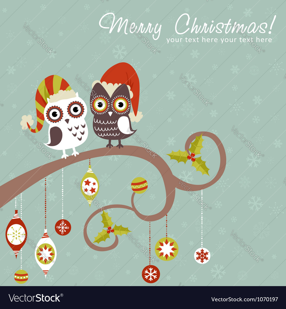 Cute winter Christmas card of owls in hats vector image