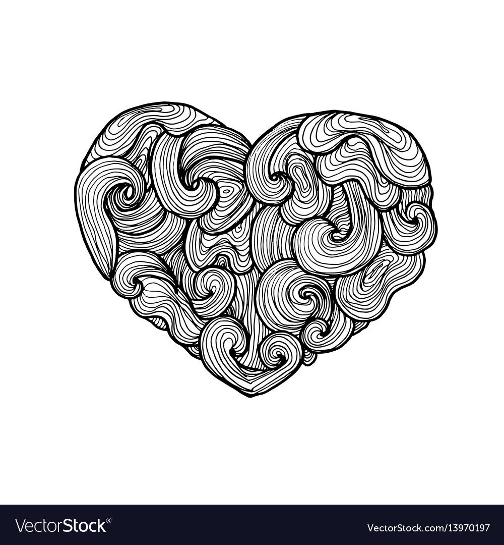 Doodle heart silhouette vector image