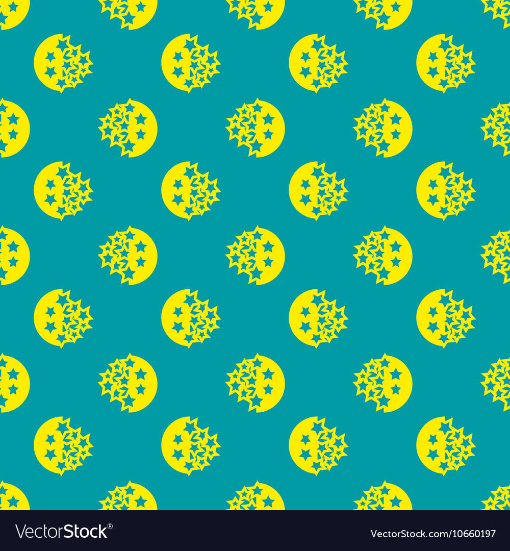 Moon and blue stars geometric seamless pattern vector image
