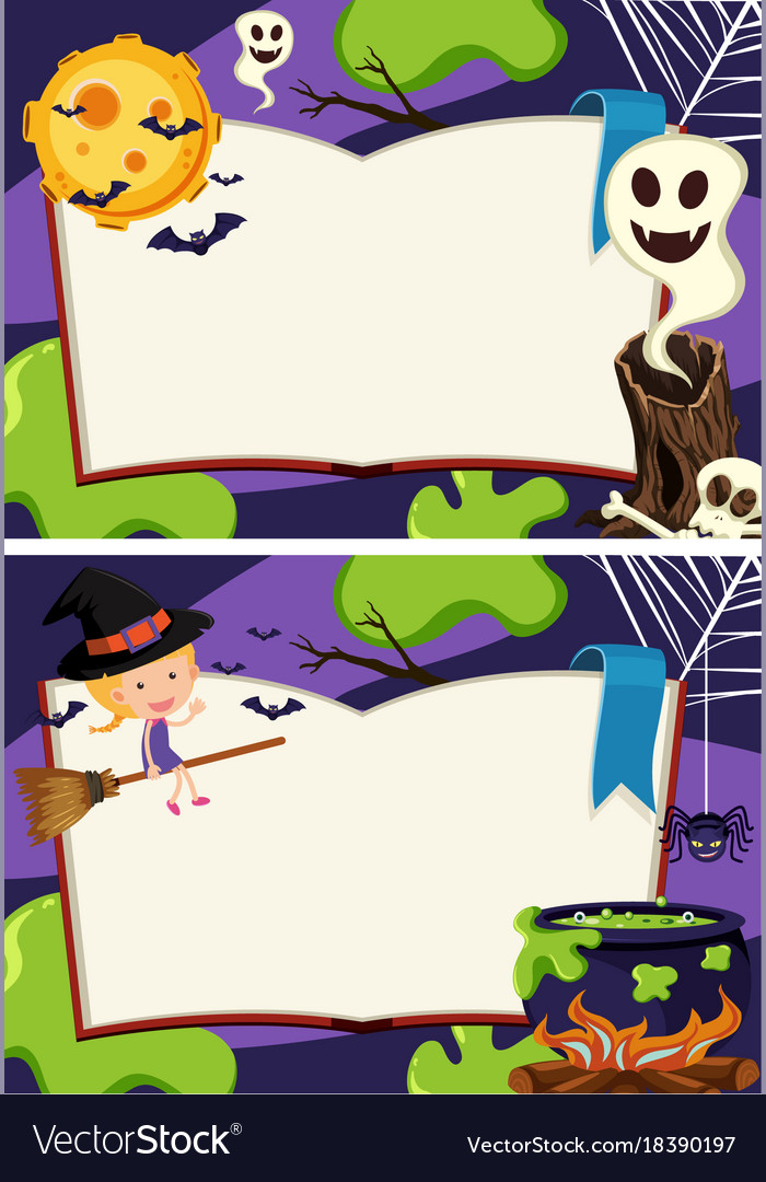 Two border templates with halloween night vector image