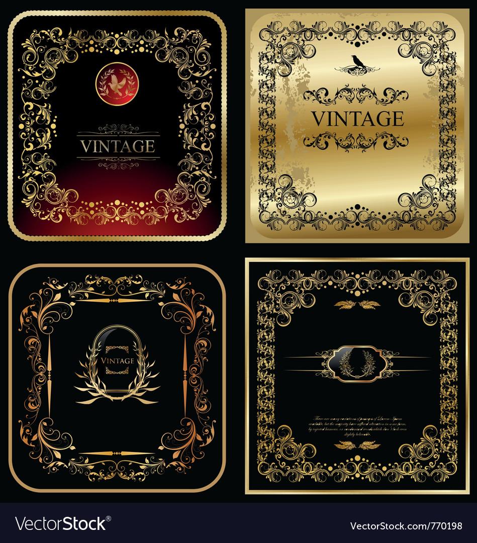 Golden vintage frames vector image