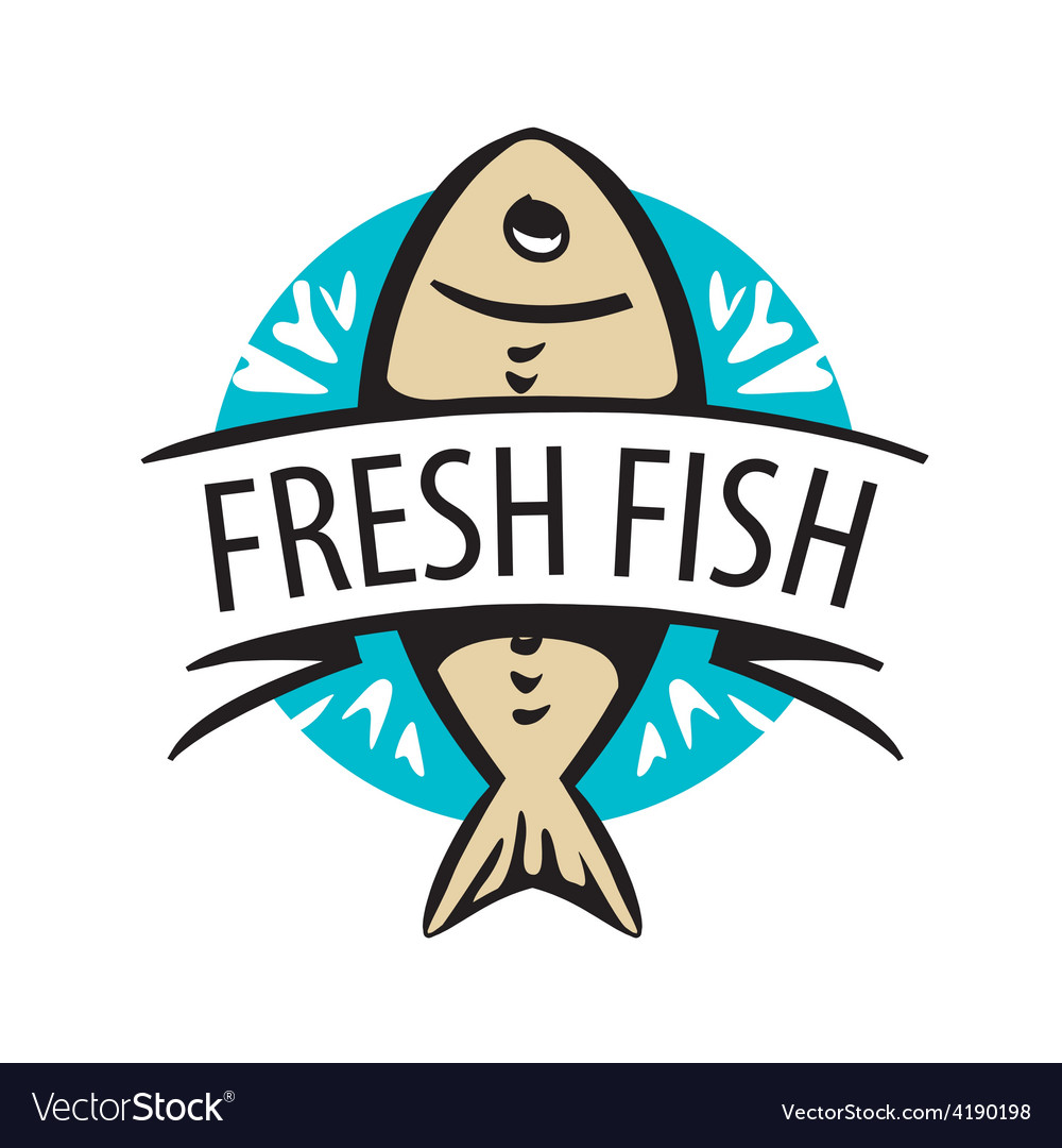 Logo fresh fish in a circle and tape vector image