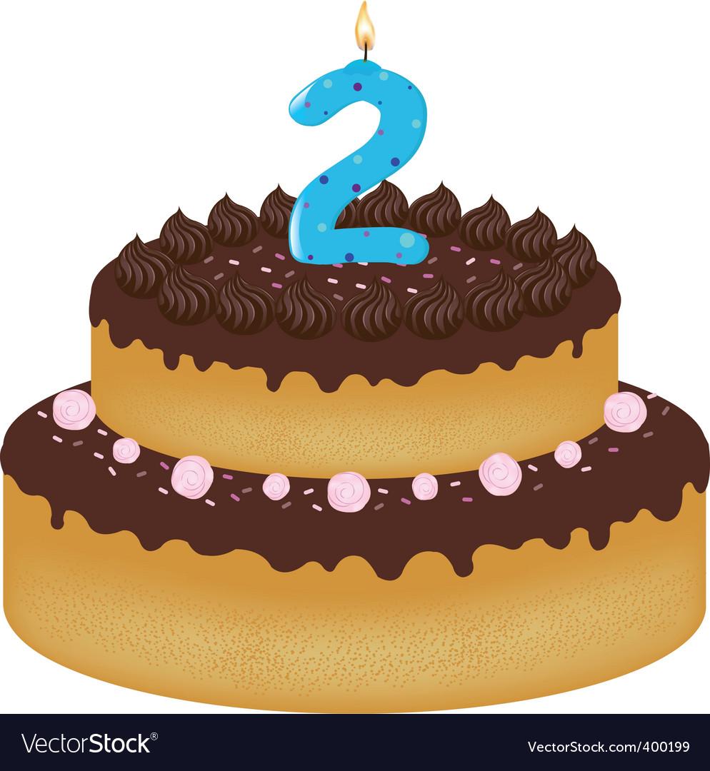 2 years old birthday cake vector image
