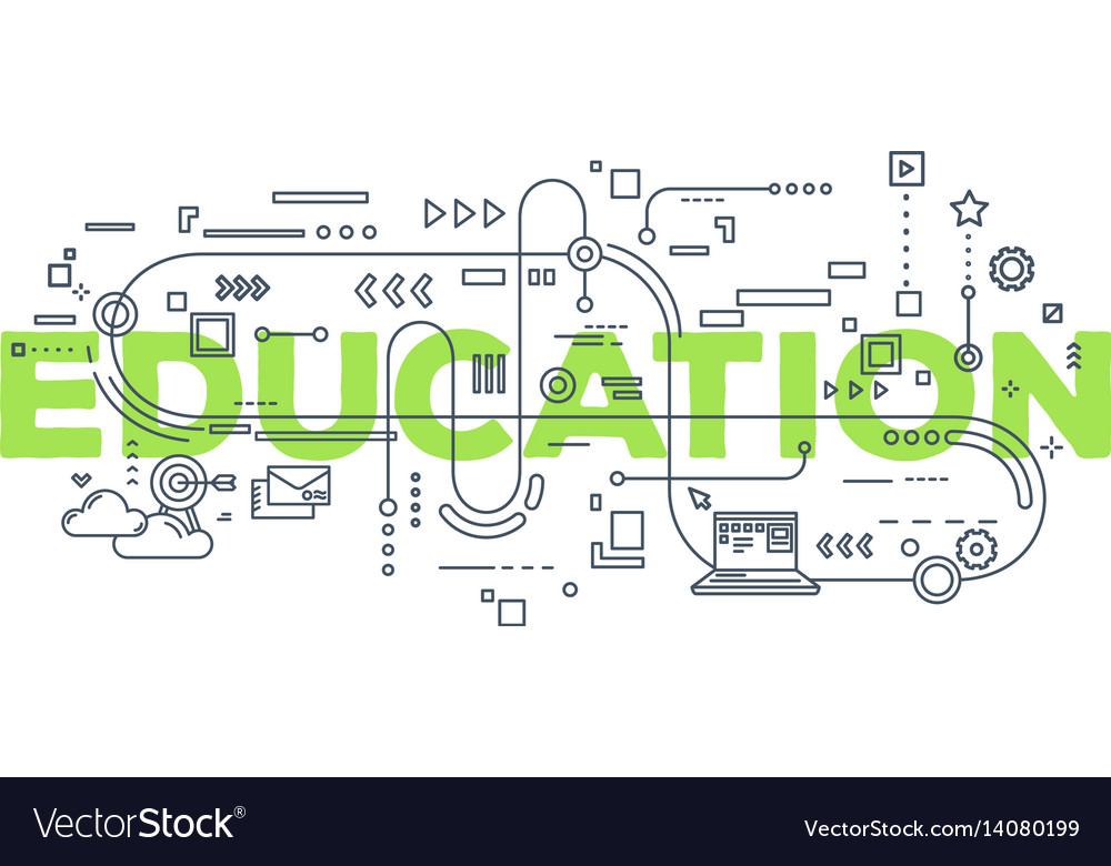 Creative of education word lettering vector image