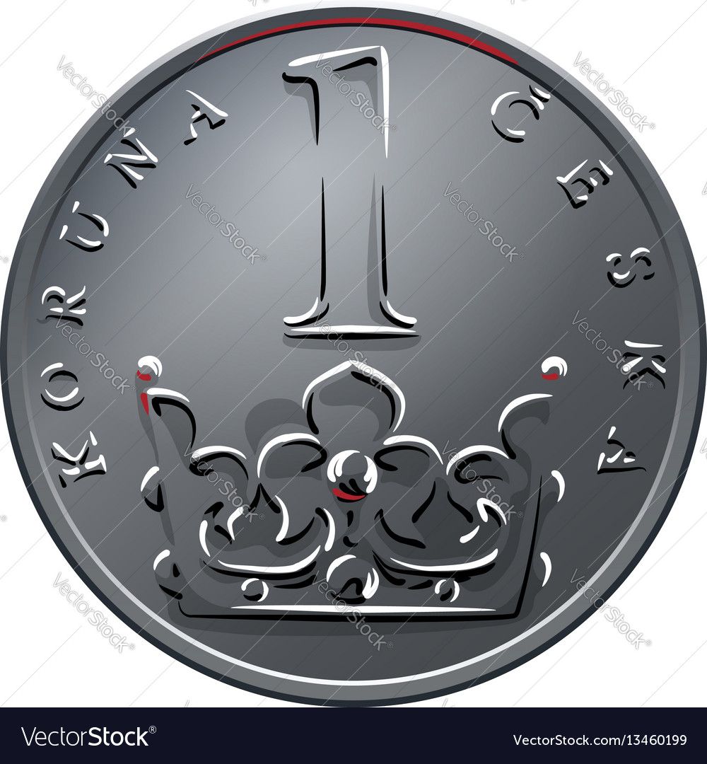 Money one czech crones coin reverse vector image