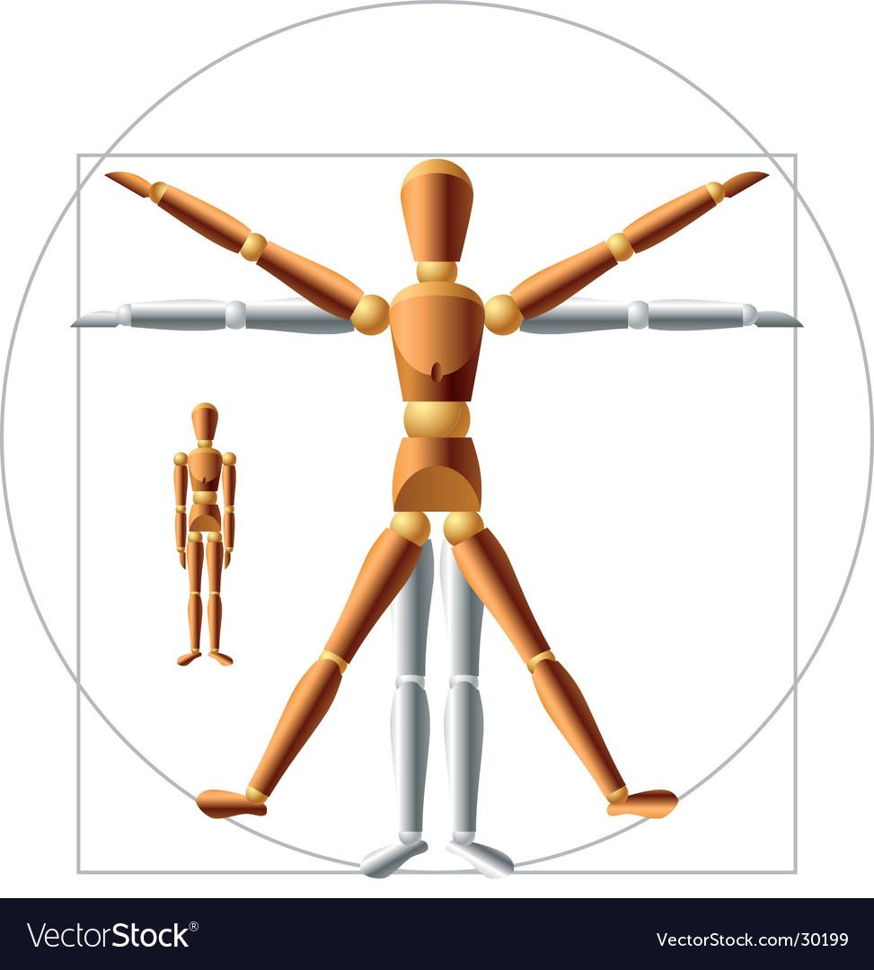 Wooden man vector image