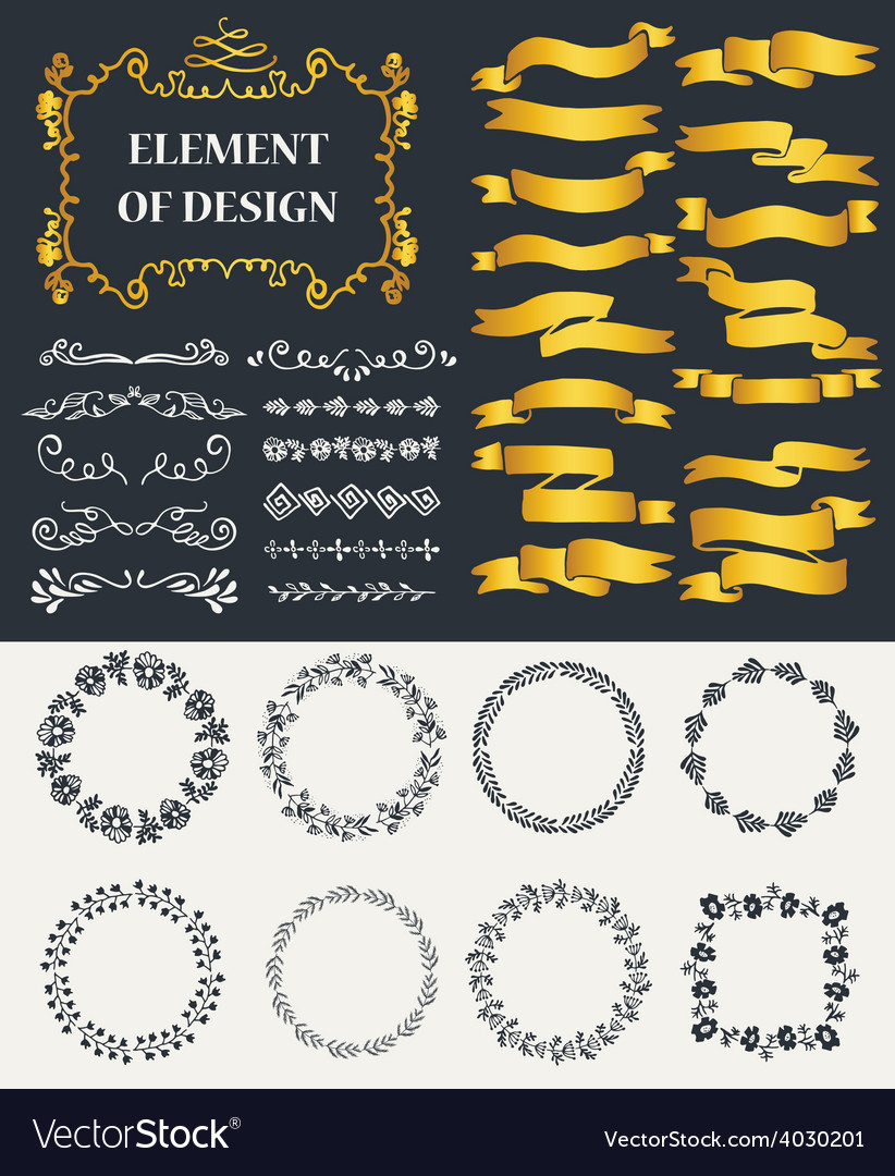 Hand-drawn elements vector image