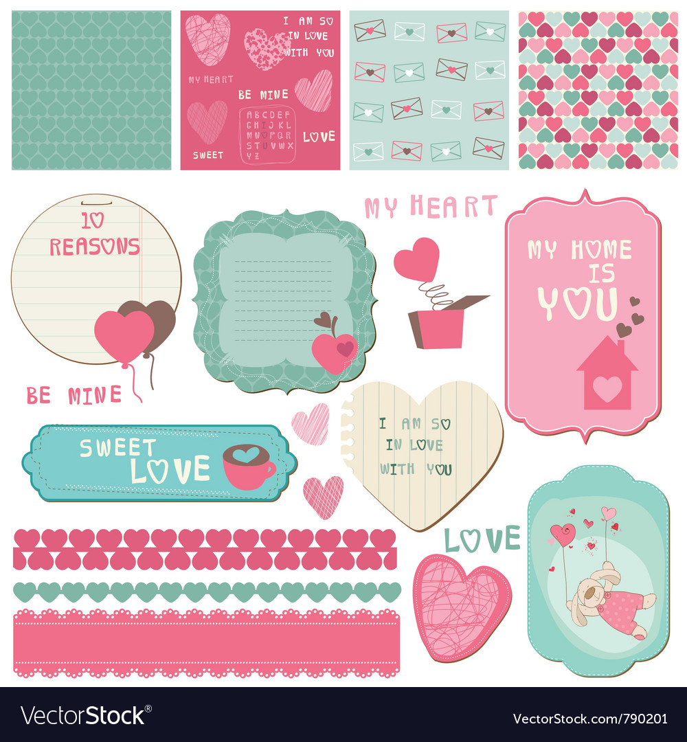 Love scrapbook elements vector image