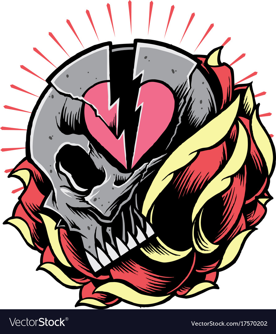 Skull and broken heart symbol with rose royalty free vector skull and broken heart symbol with rose vector image buycottarizona