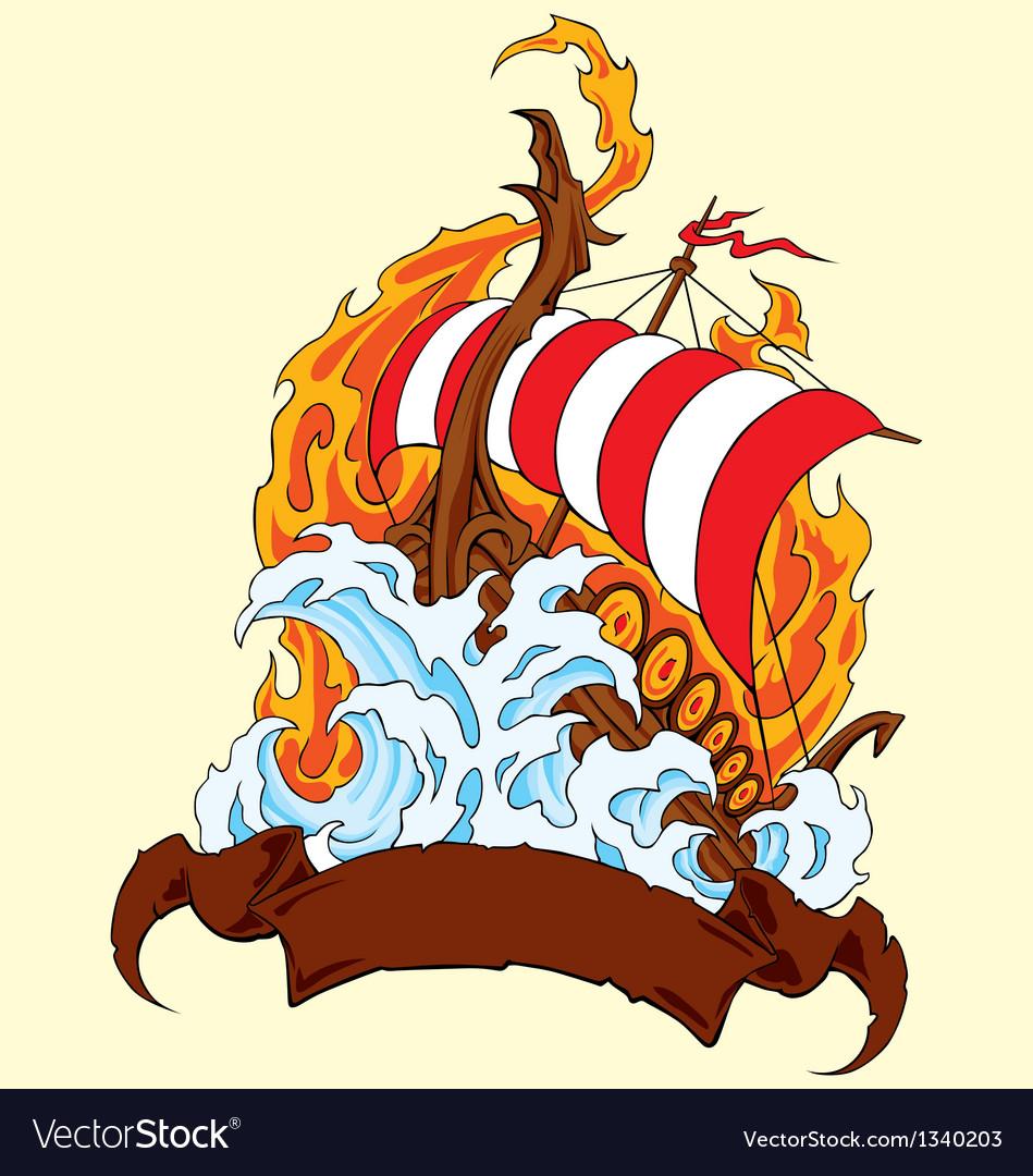 Fire ship vector image