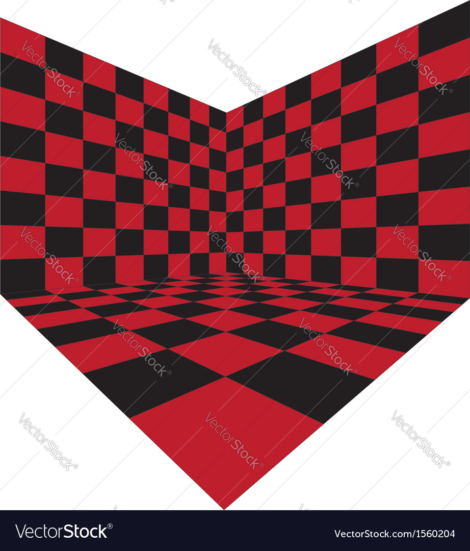 Corner of red checkered room vector image