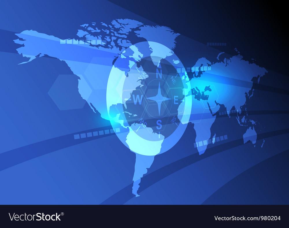 Digital world map background vector image