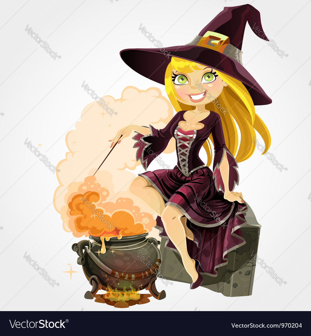 Witch and boiler of potion vector image