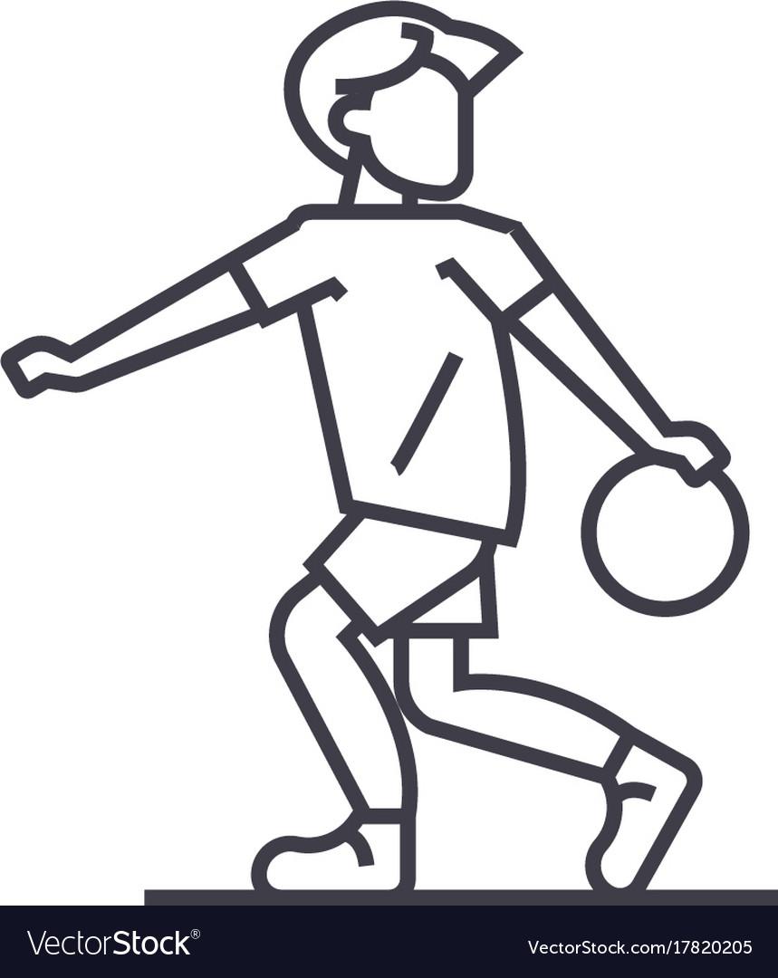 Basketball line icon sign on vector image