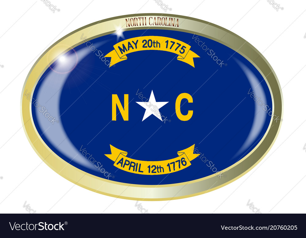 North Carolina State Flag Oval Button Royalty Free Vector