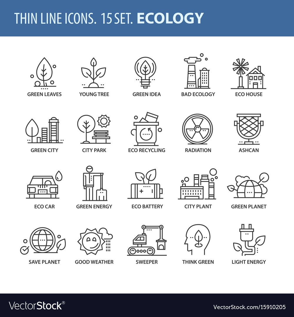 Set of thin line flat icons ecology vector image