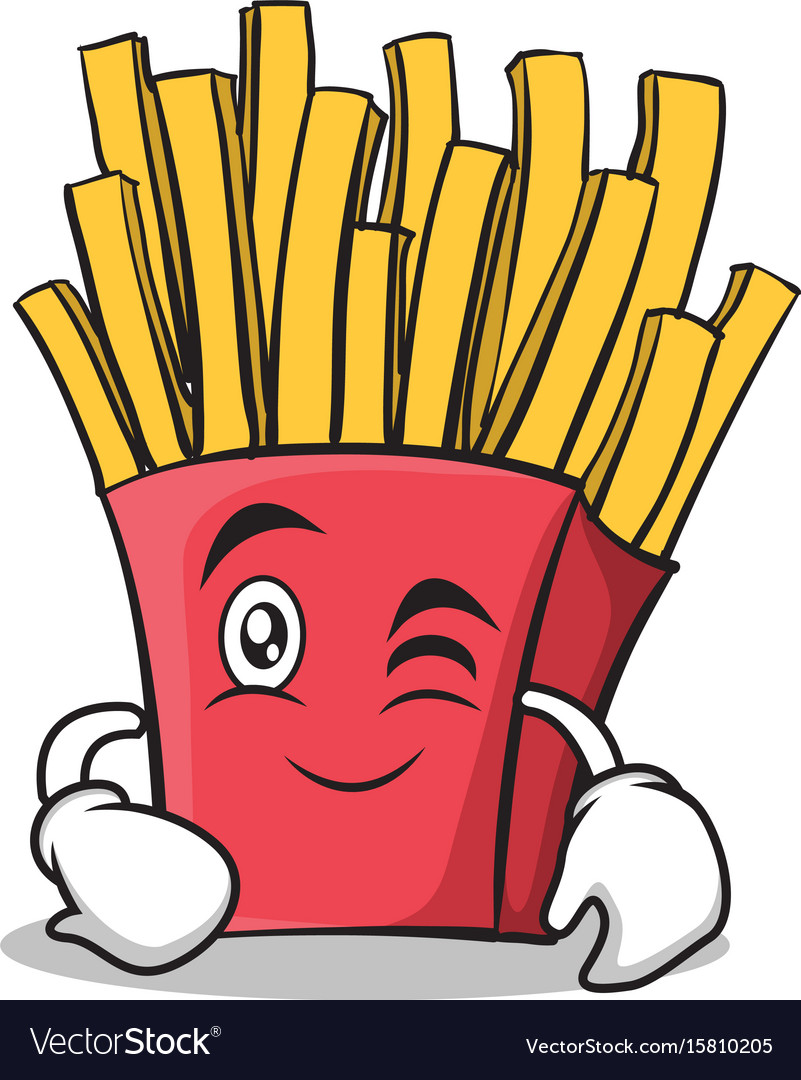 Wink face french fries cartoon character vector image
