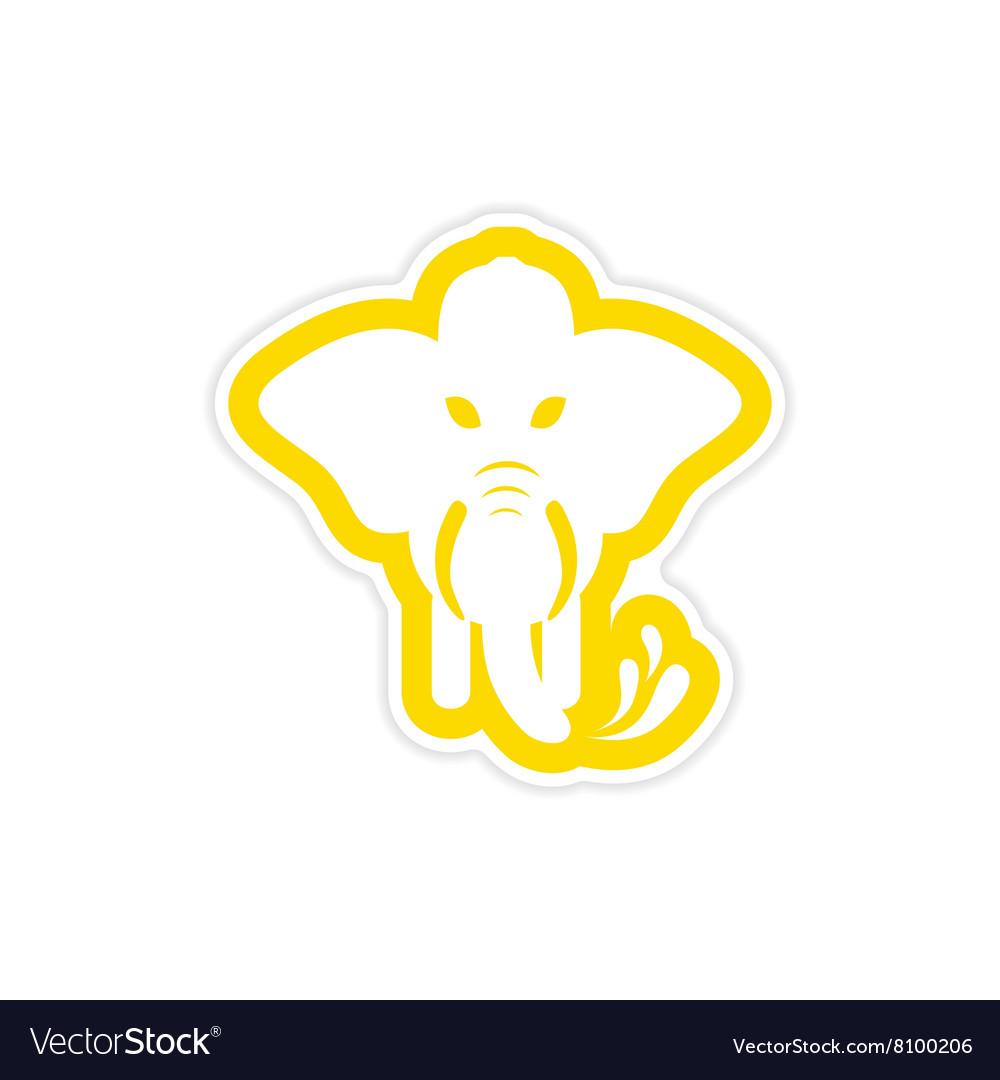 Stylish paper sticker on white background elephant